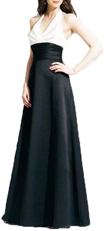 Dearta Women's ALine Halter FloorLength Satin Bridesmaid Dresses