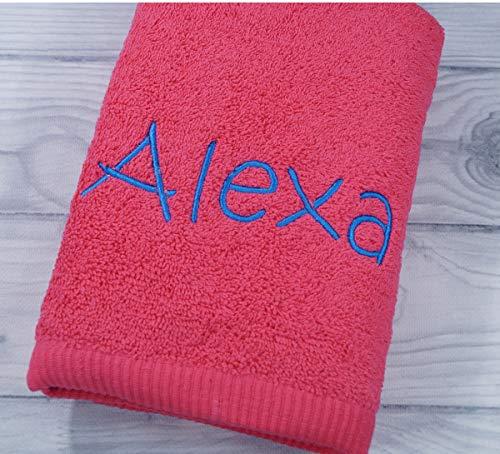 Handtuch mit Namen bestickt Duchtuch Geschenk Badetuch 500 g/m2 (Warm - Pink, 70 x 140 cm)