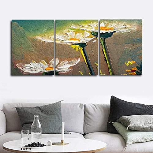 3-teiliges Wandbild auf Leinwandmotiv Löwenzahn mit weißen Blumen dekorativ rahmenlos 35 x 50 cm x 3