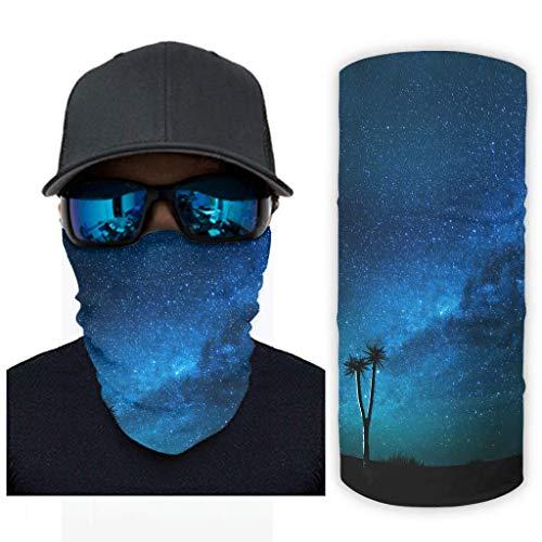 Blue Tree Stars Galaxy Landscape Magic Vía Láctea Night Sky Art Print Bandana máscara facial con protección solar, bufanda
