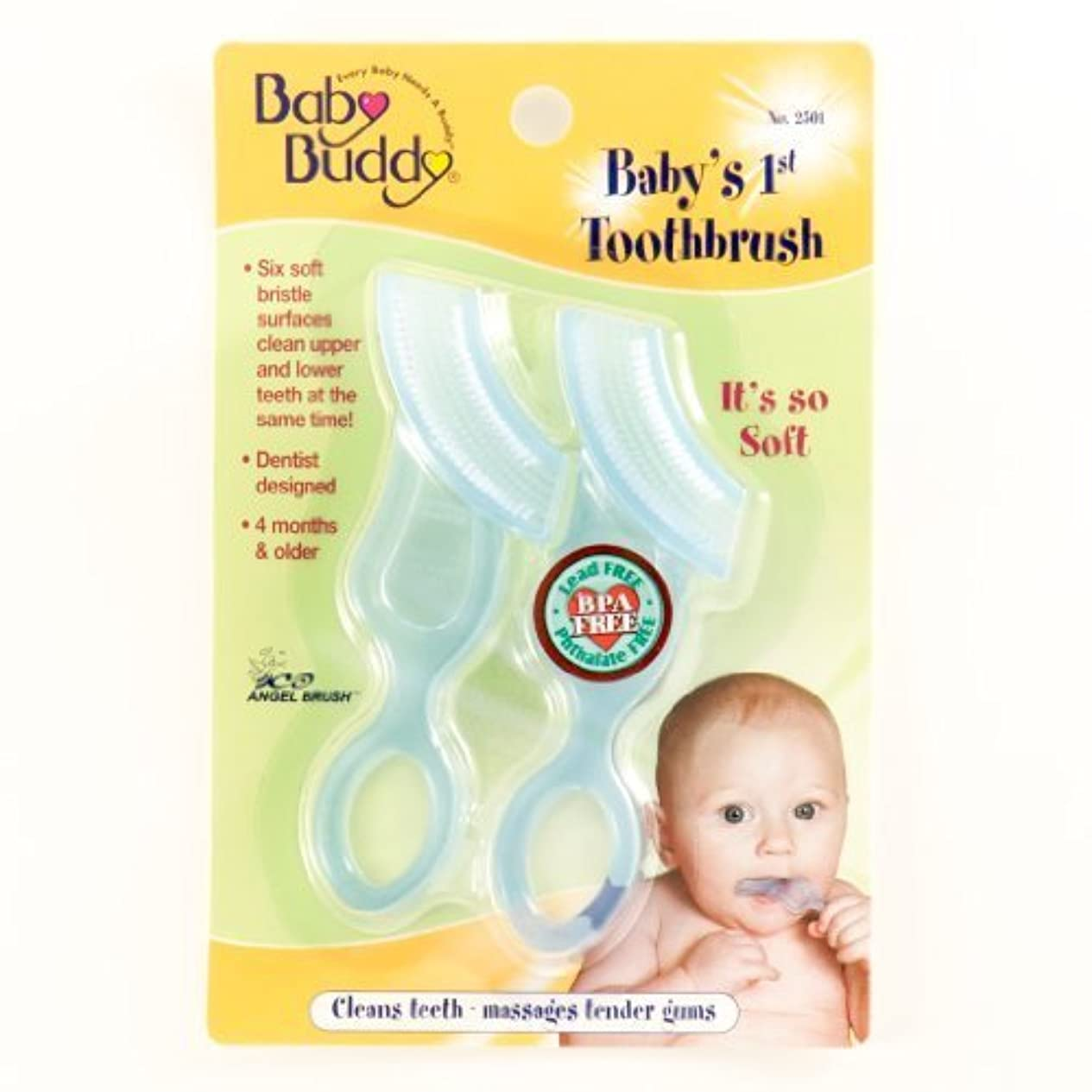 ケイ素コート手綱Baby Buddy Baby's 1st Toothbrush, Blue, 2-Count by Baby Buddy [並行輸入品]