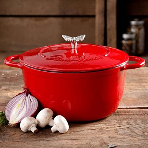 The Pioneer Woman Timeless Beauty 5-Quart Cast Iron Dutch Oven with Stainless Steel Butterfly Knob (Red)