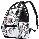 Wickeltasche, Vintage-Stil, Tulpe und Musiknoten, große Kapazität, Handtasche, Leinen,...