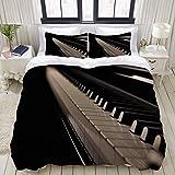 Rorun Funda nórdica, Teclas de Piano de Cola de Piano de Cola con luz Suave, Juego de Cama Juegos de Fundas de edredón de poliéster de Lujo Ultra cómodo y Ligero