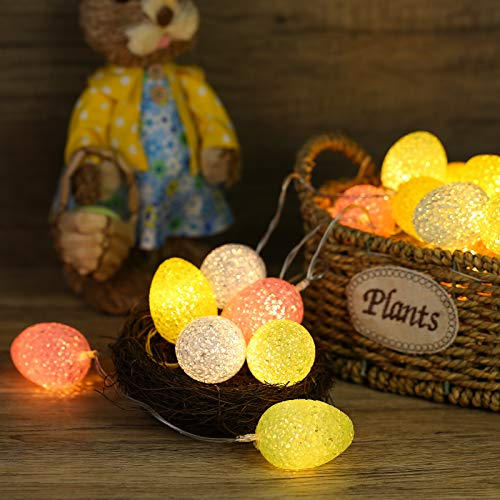 Qedertek Eier Lichterketten, 10 LED Ostern Lichter Batterie Betrieben Eier Lichter Ostern Eiförmige Dekoration Lichter für Ostern Festival Party Außen & Innen