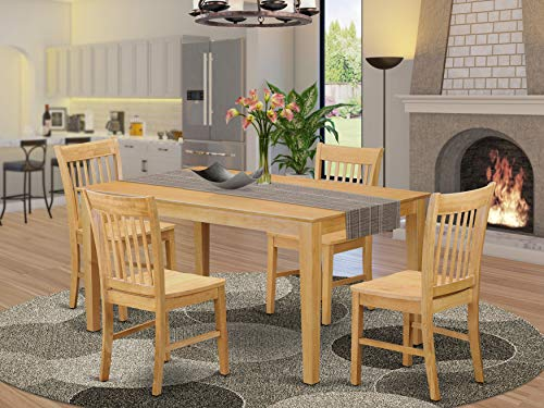 East West Furniture Rectangular Dinette Set 5 Piece - Wooden Chairs Seat - Oak Finish Rectangular Kitchen Table and Frame