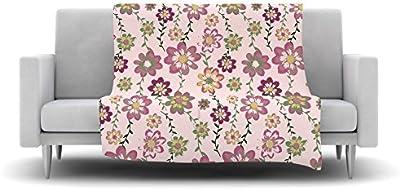 Kess InHouse Nika Martinez Romantic Flowers in Pink Blush Floral Fleece Throw Blanket, 40 x 30