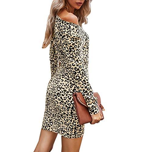 Vestido de otoño para Mujer, Vestido Cruzado de Manga Larga con Nalgas de Leopardo a la Moda para Mujer,...