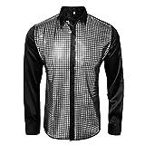 AMNPOLEN Mens Metallic Shiny Nightclub Costume Sequins Snakeskin Shirt Long Sleeve Slim Fit Button Down 70s Disco Party Fancy Dress Props (XX-Large, Black)