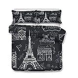 Enhome Juego de Ropa de Cama, 3D Torre Eiffel Paris Impresión 3 Piezas Cómodo Microfibra Anti Decoloración Funda Nórdica de Edredón y 2 Fundas de Almohada 50x75cm (Negro Moda,180x220cm)
