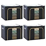 4 PACK Storage Boxes 72L,Oxford Cloth Steel Frame Storage Box Bag, Easy to Fold with Sturdy Zipper,Storage for Clothes,Bed ,Blankets,Bedding,Pillow 19.7x15.7x14.2 IN (Navy Blue)