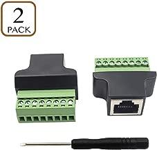 Poyiccot Compatible RJ45 Screw Terminal Adaptor Connector, 2pack RJ45 /8p8c Female Jack to 8 Pin Screw Terminal Connector for Cat7 Cat6 Cat5 Cat5e Ethernet Extender CCTV Digital DVR Network Adapter