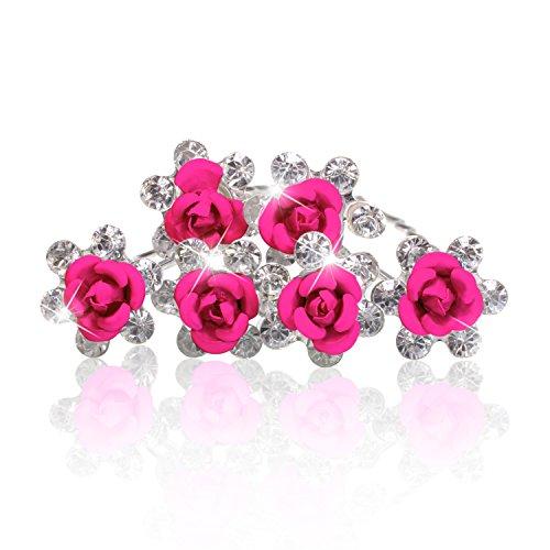 Autiga Haarnadeln Blume Rose Strass Blüte Kristalle Hochzeit Braut Haarschmuck Blumenhaarnadel Kommunion Haarpins Duttnadeln pink 6er Set