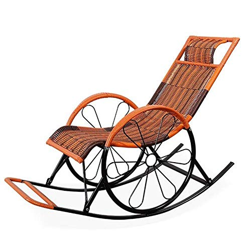 N /A Fauteuil à bascule d'extérieur en osier PE avec appuie-tête, chaises longues et chaises longues, porches, siège à bascule, 5 style (couleur : E), E
