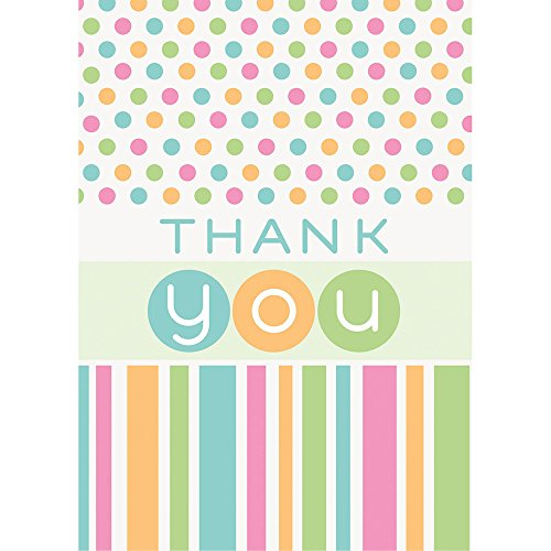 Pastel Baby Shower Thank You Cards, Pack of 8 by Unique Party