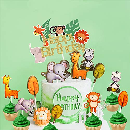 JeVenis Set von 25 Jungle Safari Animal Cupcake Toppers Picks Dschungeltiere Kuchen Dekorationen für Jungle Safari Animals Party