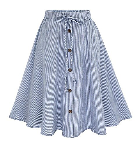 Allonly Womens A-Line High Waisted Button Front Drawstring Pleated Midi Skirt with Elastic Waist Knee Length, Light Blue 1, Large / X-Large