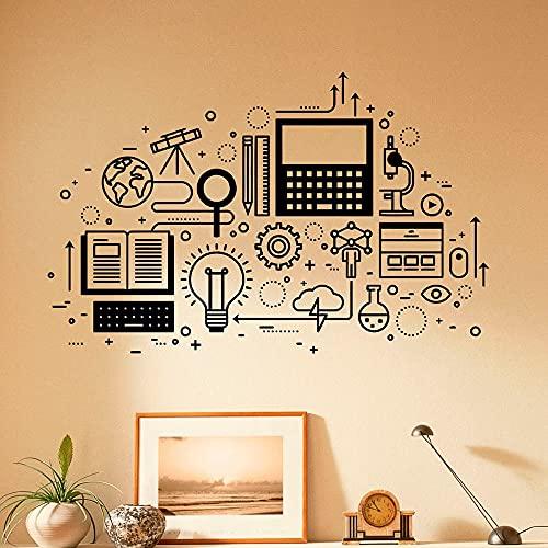 HFDHFH Tecnología informática calcomanías de Pared Ciencia Popular educación Dormitorio Aprendizaje Aula Escuela Arte Pegatinas 110X170CM