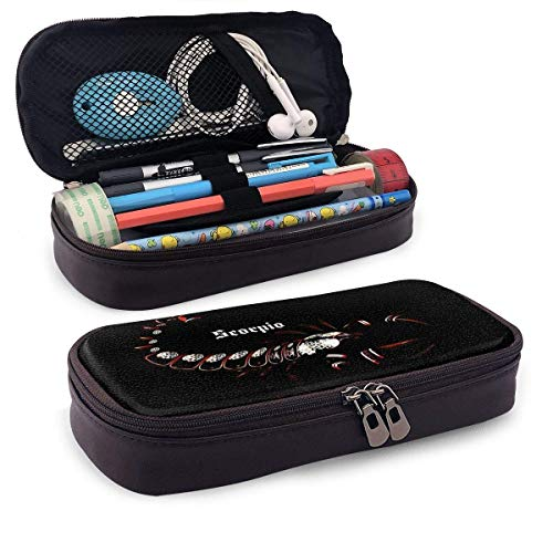 Scorpio Horoscope Leather Pencil Case with Pen Holder, Large Capacity Stationery, Cosmetic Bag, Bluetooth Headset, School Supplies, Male and Female Students Black