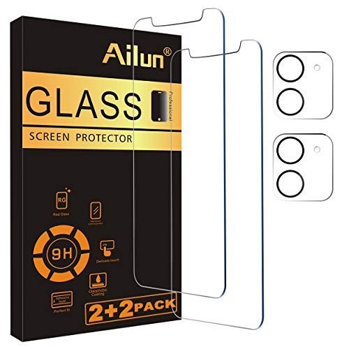 Ailun 2 Pack Screen Protector Compatible for iPhone 12[6.1 inch] + 2 Pack Camera Lens Protector,Tempered Glass Film,[9H Hardness] - HD