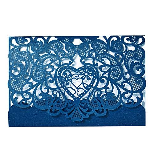 LONGBLE 20er Einladungskarten Elegant Herz Spitze Design mit Karten, Umschläge, Einlegeblätter OHNE Druck Grußkarte für Hochzeit Geburtstag Taufe Einladung, Blau