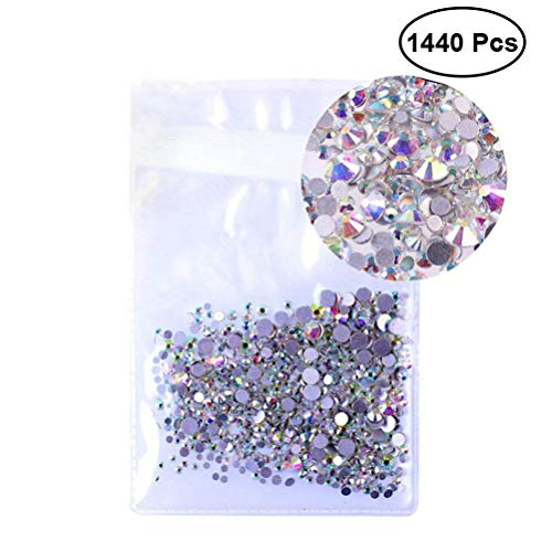 HEALLILY Nail Art Rhinestones Kit Nail Crystals AB Color Flatback Glass Charms Gems Stones for Nails Makeup Clothes Shoes Decoration 1.3mm 1440Pcs