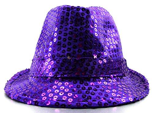 Trendit LED Party Hut Pailletten Huete mit Lichtern Fasching Hüte (lila)
