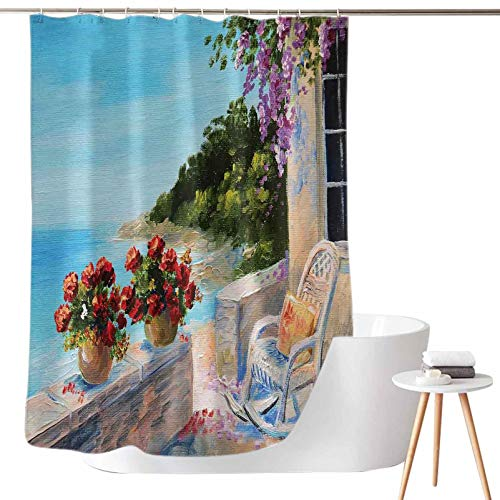 Shower Curtains Solid Color Sea View Balcony with Cosy Rocking Chair Flowers in Summer Sky Oil Painting Style W69 x L72 Bathroom Decor with Hooks