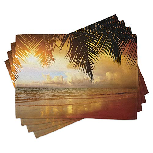 Ambesonne Ocean Place Mats Set of 4, Sunset on The Beach of Caribbean Sea Waves Coast with Palm Tree, Washable Fabric Placemats for Dining Table, Standard Size, Orange Blue