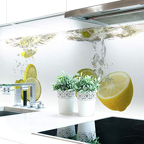 Küchenrückwand Zitronen Wasser Premium Hart-PVC 0,4 mm selbstklebend - Direkt auf die Fliesen, Größe:Materialprobe A4