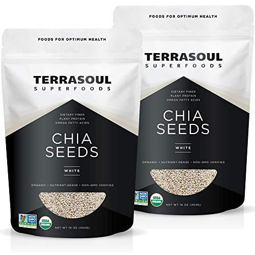 Terrasoul Superfoods Organic White Chia Seeds, 2 Lbs (2 Pack) - Omega Fats | Fiber | Plant Protein