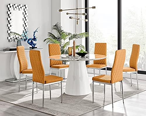Palma White Marble Effect Round Dining Table & 6 Mustard Milan Chrome Leg Chairs