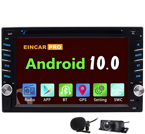 EINCAR Android 10.0 Double Din Car Stereo DVD Player Radio in Dash GPS Navigation Touchscreen Bluetooth HeadUnit AM/FM Phone Mirroring Dual CAM-in WiFi SWC Remote External Mic 3G/4G+Free Backup CAMERA