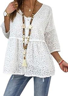 Shallood Camicette Pizzo Donna Magliette con Scollo a V Slim Fit Casual Bottone Camicia Manica 3/4 T-Shirt Tops Blusa