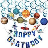 Rainmae Outer Space Solar System Hanging Decoration(30Pack), Universe Space Themed Happy Birthday Banner Outer Space Whirls Hanging Swirl for Kids, Space, Solar System, Planets Baby Shower, Birthday Party Accessory & Decoration