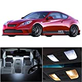 cciyu 9 Pack White LED Bulb Replacement fit for 2010-2017 for Hyundai Genesis Coupe LED Interior Lights Accessories Replacement Package Kit