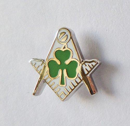 Quadratisch & Zirkel mit Irish Shamrock Cut Out Freimaurerei Freimaurer Badge–K132