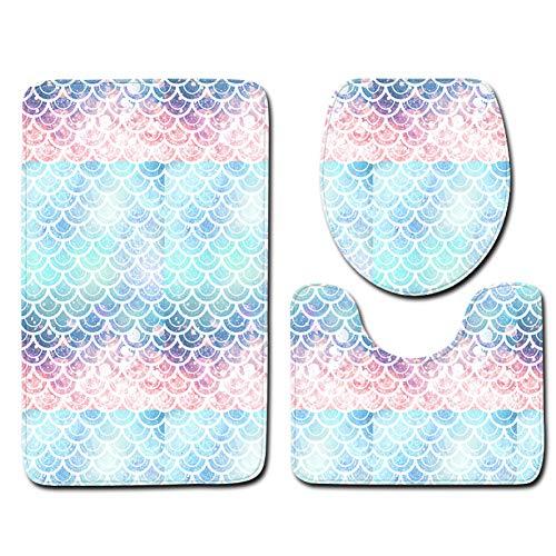 JiADT Tapijt 3 stuks 3D badmat anti-slip sokkel tapijt deksel toiletdeksel badmat set druktechniek visschubben print decoratie Home