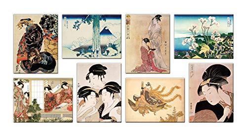 LuxHomeDecor Cuadros artísticos japoneses 8 piezas 40 x 30 cm Impresión sobre lienzo con marco de madera Decoración Arte Decoración Moderno
