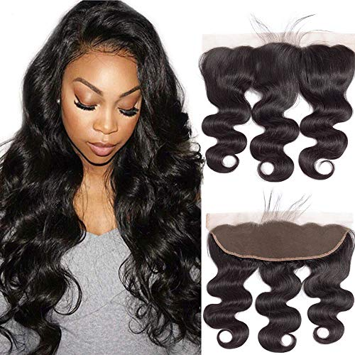 """10A Body Wave 13x4 Lace Frontal Closure Free Part Ear To Ear Closure Body Wave With Baby Hair Bleached Knots 100% Unprocessed Brazilian Virgin Best Remy Human Hair Front Closures Top Extensions 18"""""""