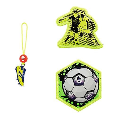 """Step by Step Magic Mags Funky Soccer"""", 3-teilig, 2 Magnet-Applikationen und 1 Anhänger, als Ergänzung für den Schulranzen oder Vorschulrucksack, für Jungen"""