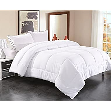 Toodou Soft Thick Quilt Down Alternative Queen Comforter For All Season, Luxury Hotel Collection Reversible Duvet Insert With Corner Tab, White