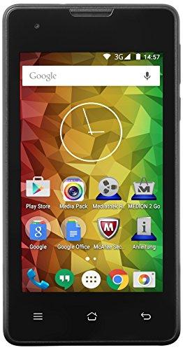 Medion E4005 Smartphone (4 Zoll (10,2 cm), 1,3GHz Quad-Core Prozessor, 1GB RAM, 8GB Interner Speicher, Dual-Sim, 5 MP Kamera, 0,3 MP Frontkamera Android 5.0) schwarz