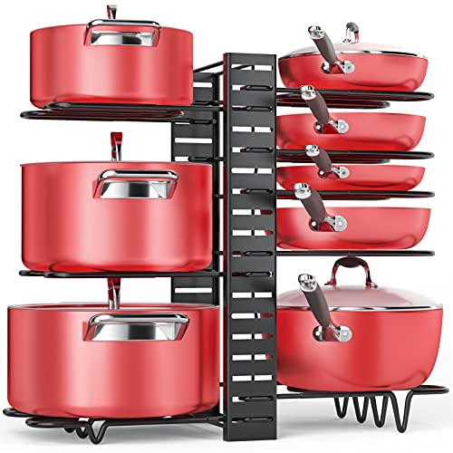 Pan Organizer Rack for Cabinet, Pot Rack with 3 DIY Methods, Adjustable Pots and Pans Organizer under Cabinet with 8 Tiers, Large & Small Pot...