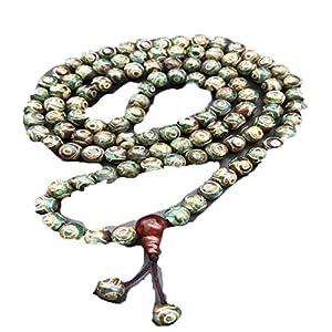 Tibetische Drei-Augen Dzi Perlen Retro Achat 108 Perlen Damen und Herren Chalcedon Dzi Perlen Halskette Armband