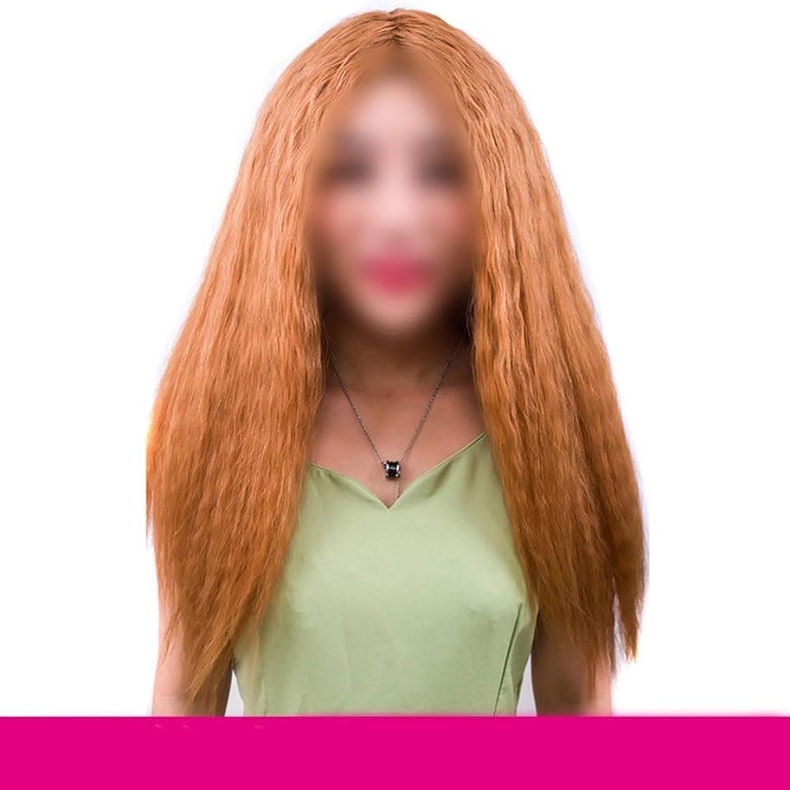 誤抑止する入手しますYrattary ブラジルのリアル人間の毛延長ライトブラウンコーンホットロングカーリーヘア女性のための人工毛レースのかつらロールプレイングかつら (色 : ブラウン)