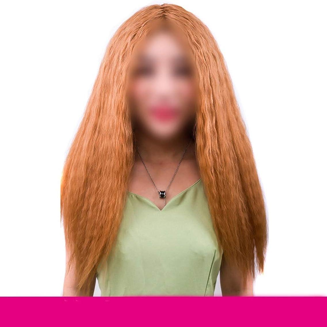 矩形倒錯成熟したYESONEEP ブラジルのリアル人間の毛延長ライトブラウンコーンホットロングカーリーヘア女性のための人工毛レースのかつらロールプレイングかつら (色 : ブラウン)