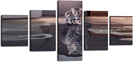 5 Pieces Inspirational Wall Art Cat Tiger Canvas Painting Motivational Posters Artwork Cute Animal HD Prints Pictures Giclee for Living Room Home Decor Wooden Framed Ready to Hang (50''Wx24''H)