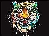 Lsdakoop Pintura por números para adultos y niños DIY pintura principiantes pintura (sin marco) aceite rugiendo tigre cepillo