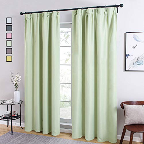 Topfinel カーテン 遮光カーテン 1級遮光 無地 高密度 選べる6色 おしゃれ 防音カーテン 幅150cm丈178cm 1枚入り 洗える 断熱・遮熱 防寒 緑